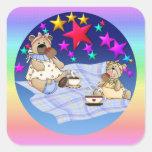 Comida campestre del oso de peluche calcomanía cuadrada personalizada