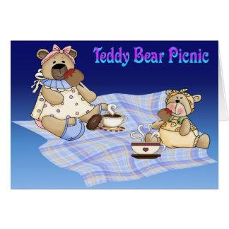 Comida campestre del oso de peluche tarjetas