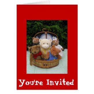 Comida campestre del oso de peluche tarjeta de felicitación