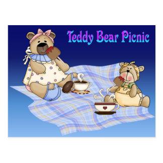 Comida campestre del oso de peluche tarjetas postales