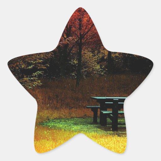 Comida campestre del otoño del bosque calcomanía forma de estrellae