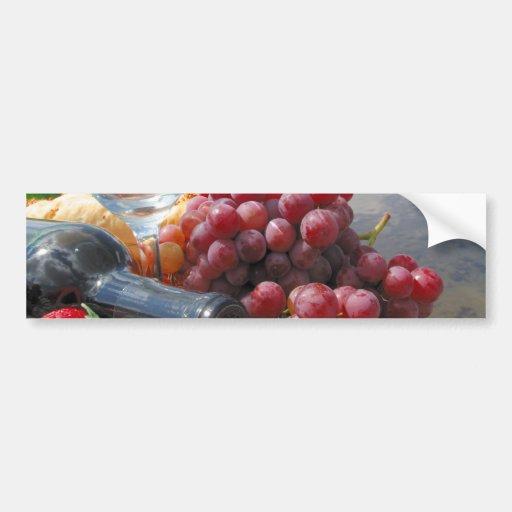 Comida campestre del pan y del vino de la fruta pegatina para auto