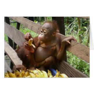 Comida campestre del plátano del bebé tarjeta de felicitación