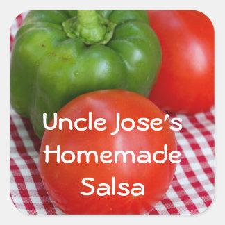 Comida campestre del tomate de la pimienta N Pegatina Cuadrada
