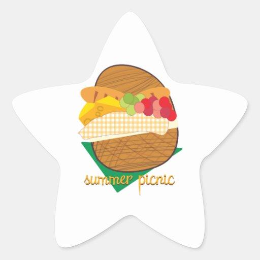 Comida campestre del verano pegatinas forma de estrella personalizadas