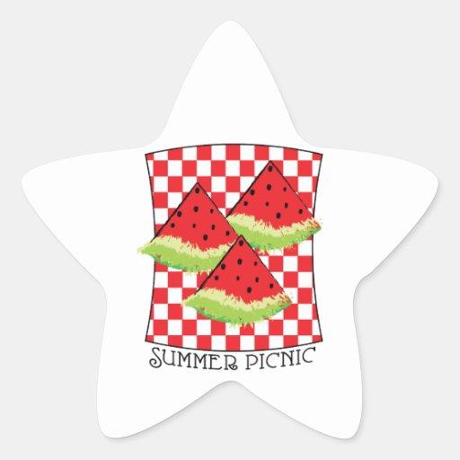 Comida campestre del verano calcomanía forma de estrellae