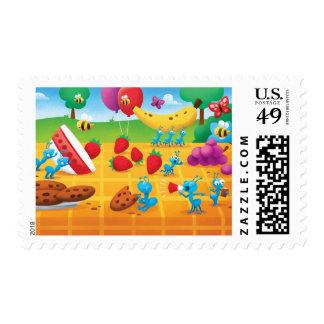 Comida campestre del verano timbre postal