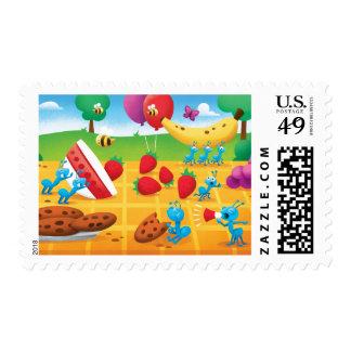 Comida campestre del verano timbres postales