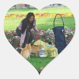 Comida campestre en el parque pegatina en forma de corazón