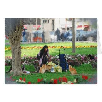 Comida campestre en el parque tarjeta de felicitación