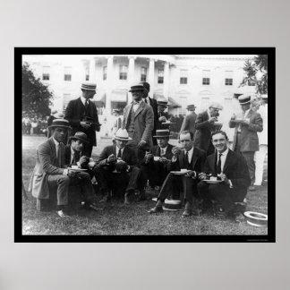 Comida campestre en la Casa Blanca en DC 1920 Póster