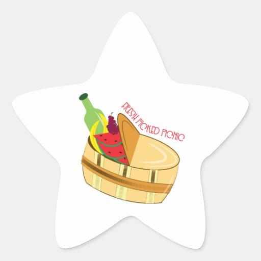 Comida campestre escogida fresca calcomania forma de estrella