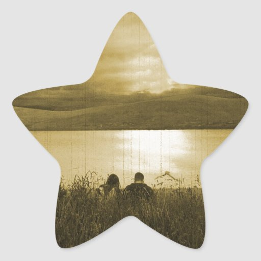Comida campestre perdida de la puesta del sol pegatina forma de estrella