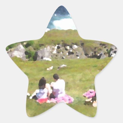Comida campestre por el mar calcomania forma de estrella