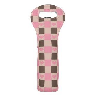 Comida campestre rosada del modelo del corazón del bolsas para botella de vino