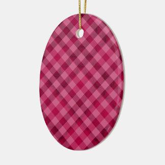 Comida campestre rosada en Plad - rosa fuerte Adorno Navideño Ovalado De Cerámica