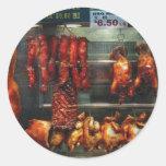Comida - carne de la carne asada para la venta pegatinas redondas
