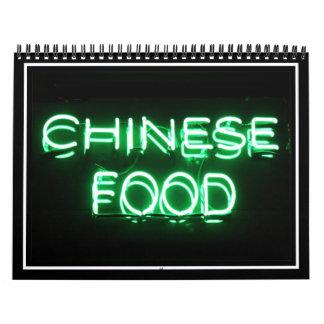 COMIDA CHINA - señal de neón verde Calendario De Pared