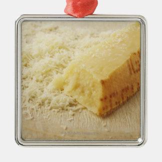 Comida, comida y bebida, queso, parmesano, adorno navideño cuadrado de metal
