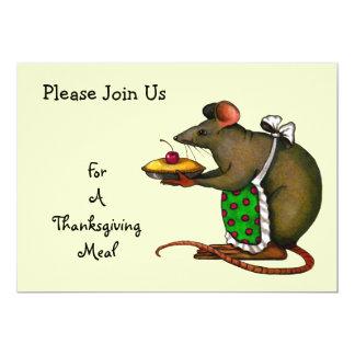 Comida de la acción de gracias: Mamá Mouse Holding Invitación 12,7 X 17,8 Cm