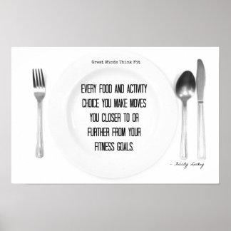 ¡Comida de la aptitud y opciones de la actividad! Posters