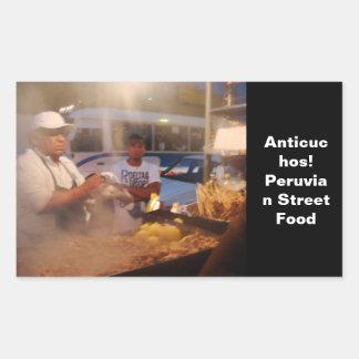 Comida de la calle en Perú - Anticuchos Pegatina Rectangular