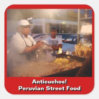 Comida de la calle en Perú - Anticuchos Pegatina Cuadradas Personalizadas