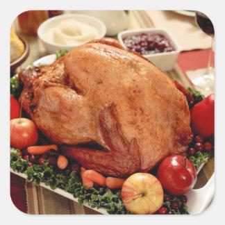 Comida de la cena de Turquía Calcomanias Cuadradas