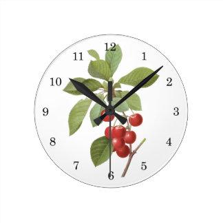 Comida de la cereza de la fruta del vintage, reloj redondo mediano