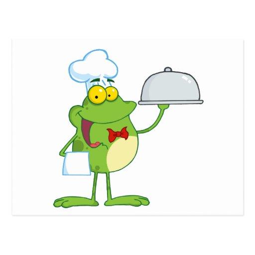 Comida de la porción del cocinero de la mascota de postal