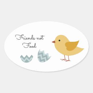 Comida de los amigos del polluelo del vegano no pegatina ovalada