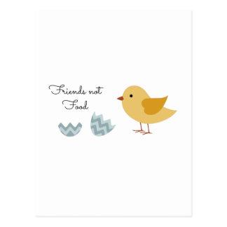 Comida de los amigos del polluelo del vegano no tarjeta postal