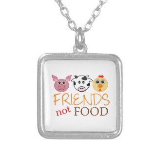 Comida de los amigos no colgante cuadrado