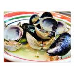 Comida de los crustáceos de los músculos de las al tarjetas postales