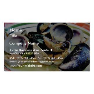 Comida de los crustáceos de los músculos de las al tarjetas de visita