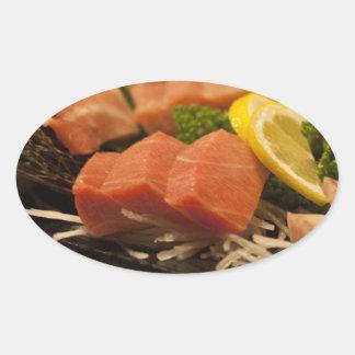 Comida de pescados del fiesta del atún del atún pegatina ovalada