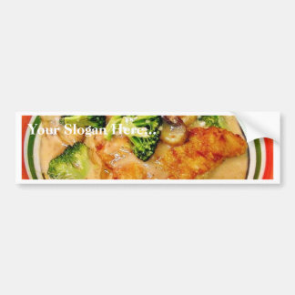 Comida de Piccata del bróculi del siluro que cocin Pegatina De Parachoque