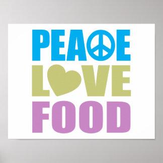 Comida del amor de la paz impresiones