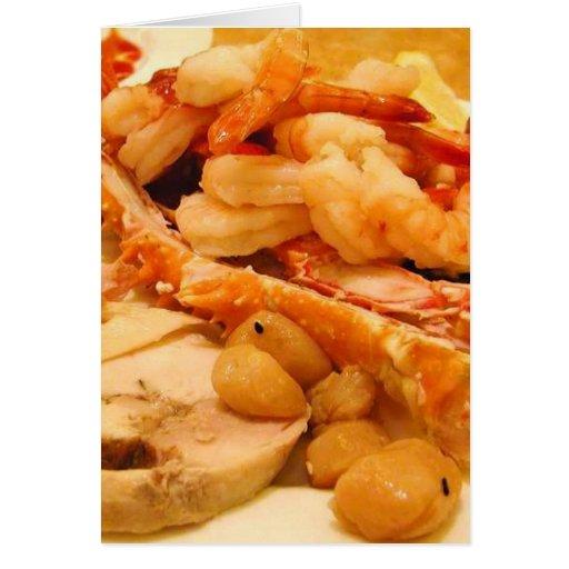 Comida del camarón de las piernas de cangrejos de  tarjeta