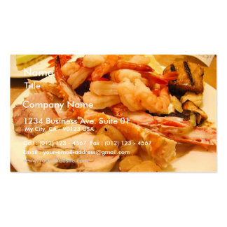 Comida del camarón de las piernas de cangrejos de  tarjetas de visita
