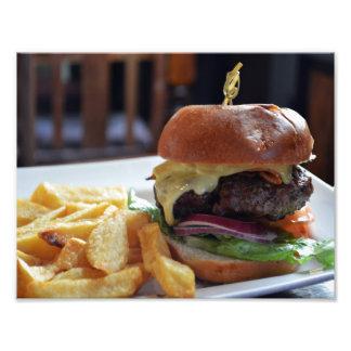 Comida del cheeseburger en la impresión de la foto fotografía