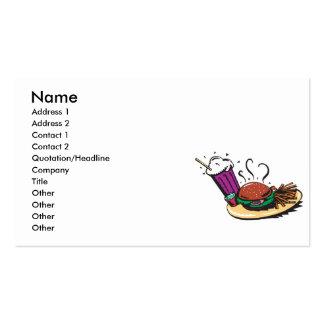 comida del comensal de los alimentos de tarjetas de visita