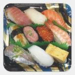 Comida del japonés de la caja del sushi calcomania cuadrada personalizada