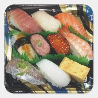 Comida del japonés de la caja del sushi pegatina cuadrada