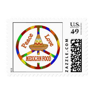 Comida del mexicano del amor de la paz sellos