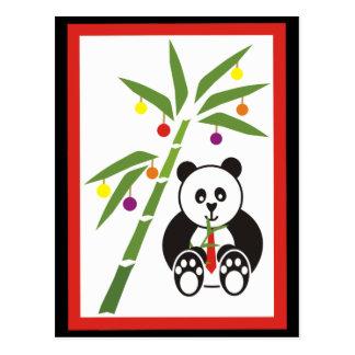¡Comida del navidad de la panda! Postal