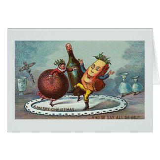 """Comida del navidad del baile!"" Tarjeta del vintag"