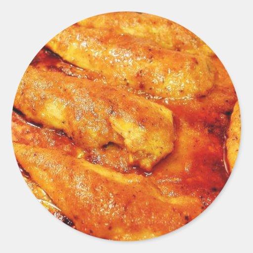 Comida del pollo pegatina redonda