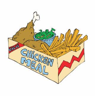 comida del valor del pollo en una caja fotoescultura vertical