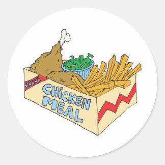 comida del valor del pollo en una caja etiqueta redonda
